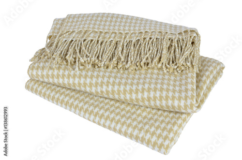 Póster Woolen blanket with beige and white hounds-tooth pattern and with heather on whi