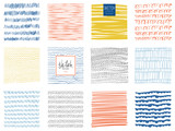 Fototapety Set of scribble textures and abstract square backgrounds. Vector illustration.