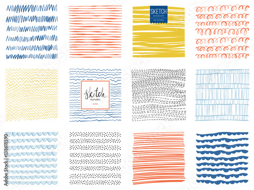 Set of scribble textures and abstract square backgrounds. Vector illustration.