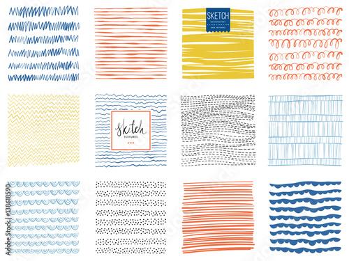 Set skrobaniny tekstury i abstrakcjonistyczni kwadratowi tła. Ilustracji wektorowych.