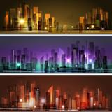 Night city skyline, vector illustration - 138624782