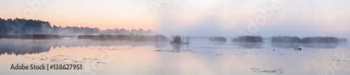 Panorama of the lake in the morning. - 138627951