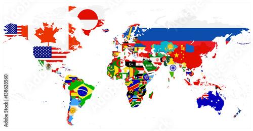 Fototapeta World Flag Map isolated on white