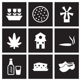 Concept flat icons in black and white Netherlands
