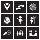 Concept flat icons in black and white friendship race