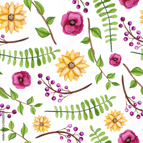 Seamless Pattern of Watercolor Flowers and Leaves - 138629509