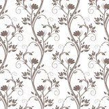 Seamless floral pattern. Stems of flowers and leaves ornamental. - 138632196
