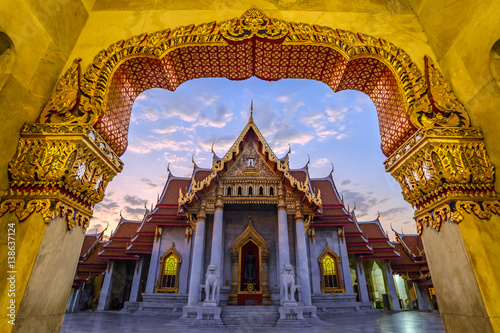 Poster Marble Temple or Wat Benchamabophit, Bangkok, Thailand (public temple no ticket