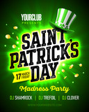 17 March Saint Patricks Day madness party poster design with bright flash on green background leprechaun party hat and coins nightclub invitation