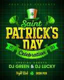 Saint Patricks Day celebration party invitation poster design with bright vintage lettering, leprechaun hat on green tartan background, 17 March nightclub invitation