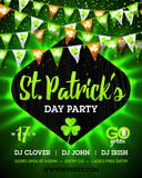 17 March Saint Patricks Day party bright invitation poster design
