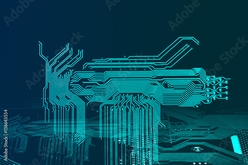 Poster Abstract blue technology background with circuit board texture