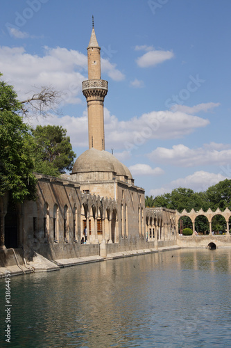 Poster Halil Rahman Cami on Birket Ibrahim ( the pool of Abraham) in Sanliurfa,  Turkey