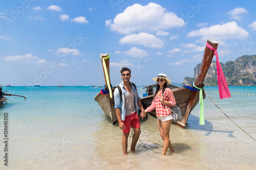 Poster Young Couple Tourist Long Tail Thailand Boat Ocean Sea Vacation Travel Trip Trop