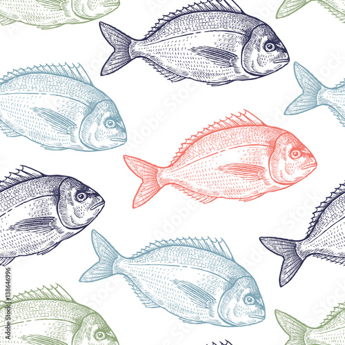 Seamless pattern with fish. - 138646996