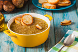 Classic onion soup with croutons. - 138661529