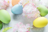 Easter composition with flowers and Easter eggs
