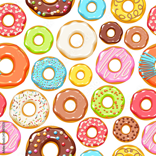 Colorful donuts icons background. Sweet bakery vector.