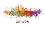 Fototapeta Fototapeta Londyn - London V2 skyline in watercolor splatters with clipping path © paulrommer