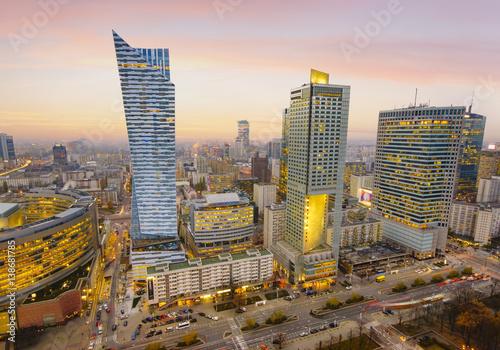 Warsaw city with modern skyscraper