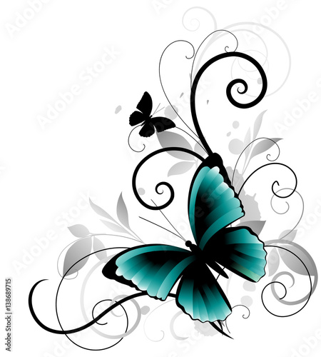 Poster Vlinders in Grunge Beautiful ornament with blue butterfly