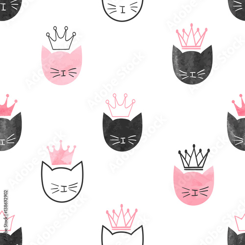 Seamless watercolor princess cats pattern. Vector background for kids design. - 138692902