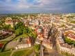 Lublin z lotu ptaka. Panorama starego miasta.