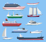 Ships and boats vector set in a flat style. - 138696590
