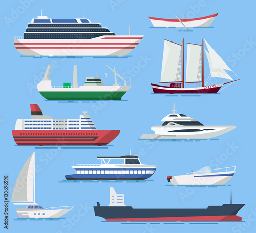 Fototapeta Ships and boats vector set in a flat style.