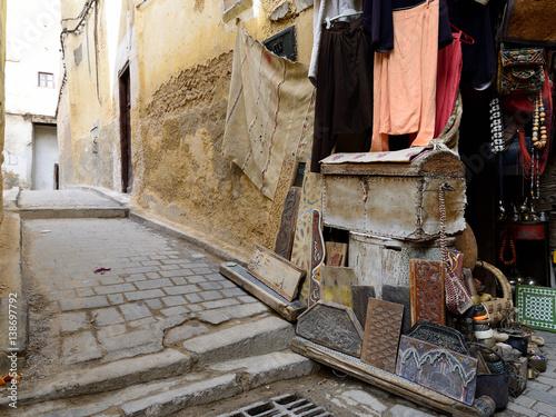 Souk (bazaar) in the Moroccan old town - Medina Poster