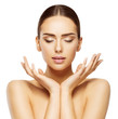 Leinwanddruck Bild - Woman Face Hands Beauty, Skin Care Makeup Eyes Closed, Beautiful Natural Make Up, White Isolated