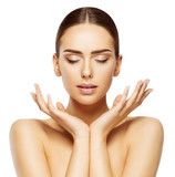 Woman Face Hands Beauty, Skin Care Makeup Eyes Closed, Beautiful Natural Make Up, White Isolated - 138698169