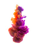 Colors dropped into liquid and photographed while in motion. Ink shape or swirling in water for design or decorate background or abstract banner with clipping paht on white background. - 138699500