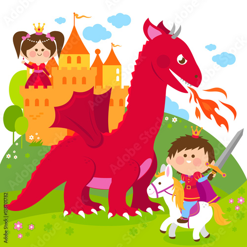 Poster Pony A handsome prince fighting a fire breathing dragon and saving the beautiful princess at the tower.