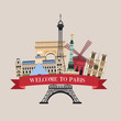 Welcome to Paris. The famous sights. Vector illustration.