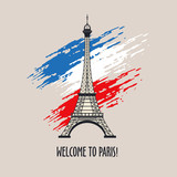 Welcome to Paris! Vector illustration. Eiffel tower. The Symbol Of Paris. The Flag Of France.