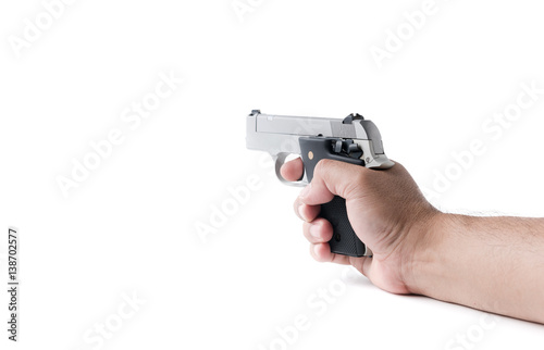 Poster small automatic gun in hand man isolated