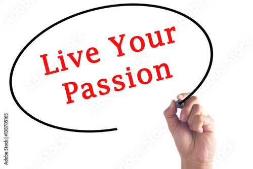 Hand writing Live Your Passion on transparent board Poster