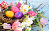 Happy Easter: nest with Easter eggs, feathers, tulips and daffodils:) - 138713170