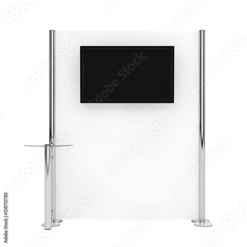 Exhibition Stand Information : Trade commercial exhibition stand with information monitor. 3d