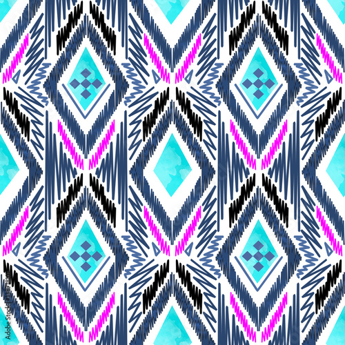 Cotton fabric Embroidery design seamless folk boho pattern