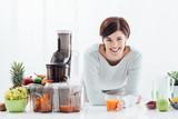 Woman preparing healthy drinks