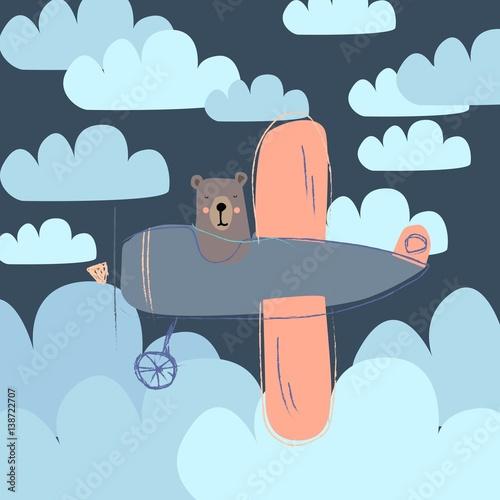 Fotobehang Auto Bear on a plane