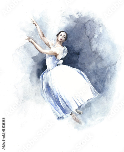 Ballerina dancing ballet white tutu watercolor painting illustration isolated on white background - 138728383
