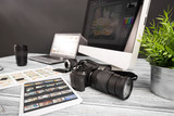 Photographers computer with photo edit programs. - 138736581