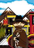Cute Wild West Cowboy and Steam Train