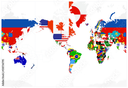 Obraz na płótnie World Map Flags - America in center - Isolated on white