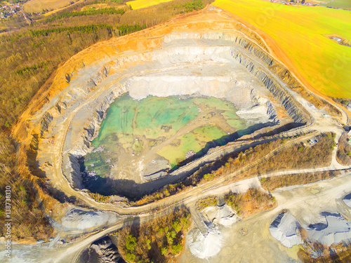 Aerial view of a open cast mine. Industrial landscape. Heavy industry from above.