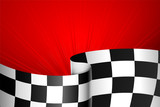 Red racing background with checkered flag - 138744766
