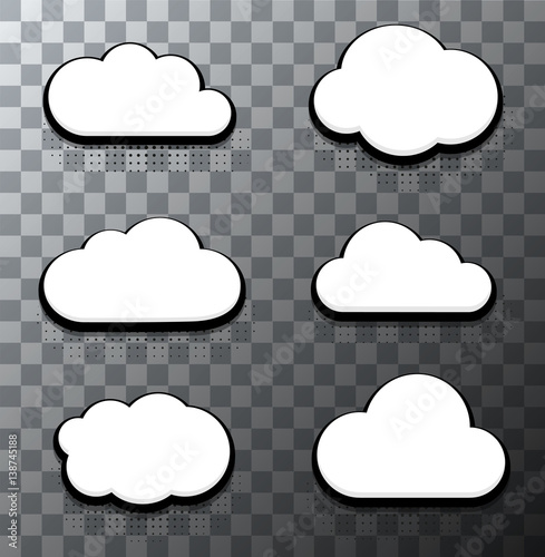 Vector modern halftone cloud icons set